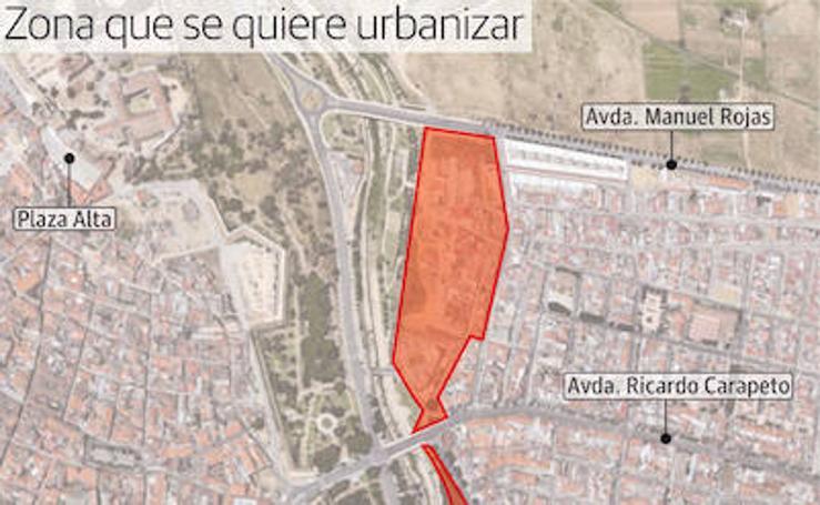 Zonas que se quieren urbanizar en el entorno del río Guadiana a su paso por Badajoz