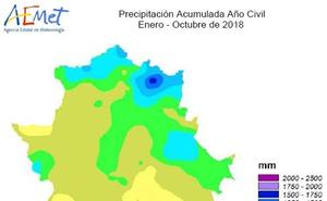 Año muy húmedo en Extremadura con una media de lluvia de 593,8 litros
