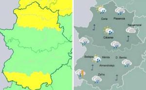 Amplían la alerta amarilla por lluvias en el Norte de Cáceres a las comarcas del Tajo y el Alagón y al sur de Badajoz