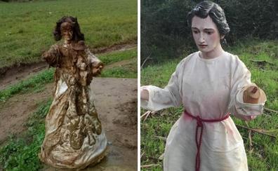 Aparece junto a un arroyo la imagen robada de la Virgen de Perales