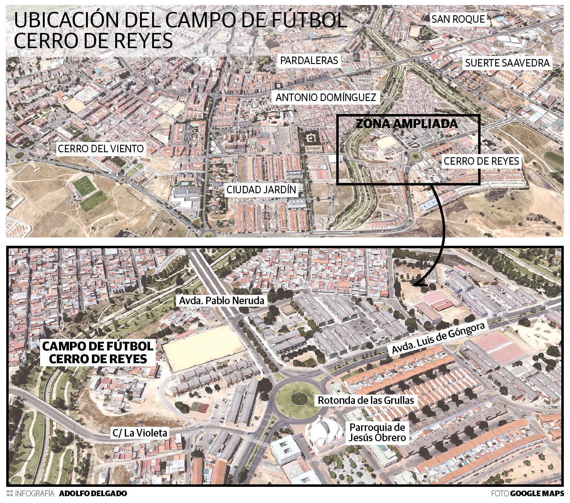 Ubicación del campo de fútbol del Cerro de Reyes