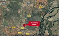 Herido tras una salida de vía y posterior choque cerca de Valverde de Mérida
