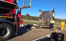 Herido leve un camionero en un vuelco cerca de Talarrubias