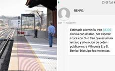 Un tren se retrasa por la presencia de neumáticos ardiendo en las vías entre Villanueva y Don Benito