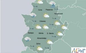 Viernes con lluvias y descenso de temperaturas en Extremadura
