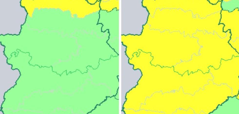 Avisos amarillos en Extremadura: lluvia el jueves y viento y nieve el viernes