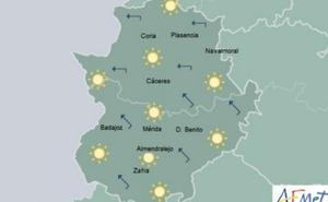 Jueves con máximas de 22 grados en Extremadura