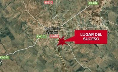 Dos heridos en una colisión entre una autocaravana y un camión en la A-66 en Fuente de Cantos