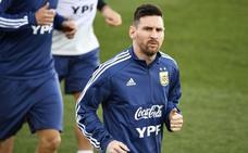 Messi ya entrena con Argentina en Valdebebas