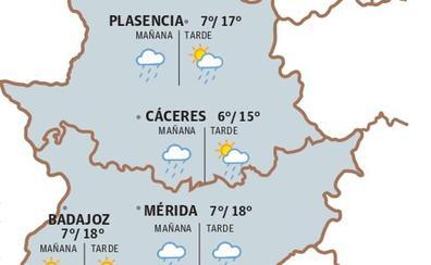 Lluvias y posibles tormentas para este martes en Extremadura