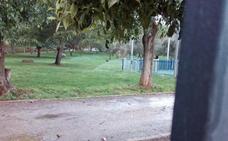 Aspersores y lluvia regando a la vez el parque de Las Mercedes de Almendralejo