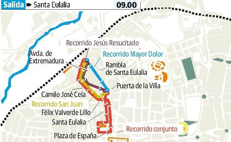 Domingo de Resurrección en Mérida: San Juan Evangelista, Jesús Resucitado y Nuestra señora del Mayor Dolor