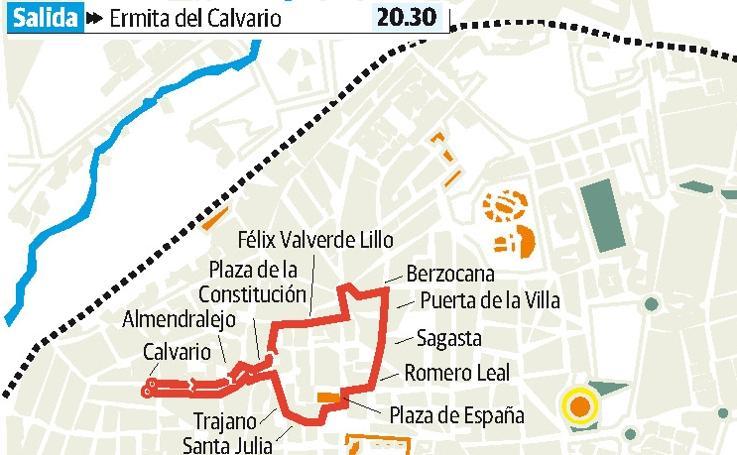 Recorrido del Martes Santo en Mérida desde El Calvario