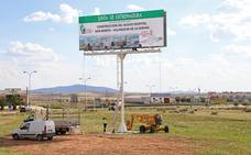 Nuevo cartel de la construcción del hospital Don Benito-Villanueva
