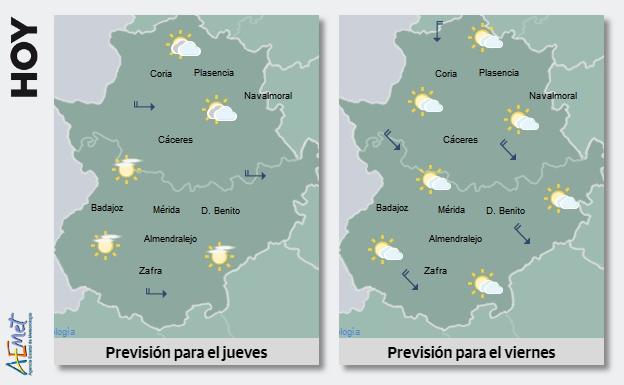 Este jueves comienza el descenso de las temperaturas en Extremadura