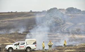 Desalojan una docena de parcelas en la urbanización Campomanes de Badajoz por un incendio de pastos