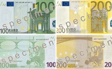 Llegan los nuevos billetes de 100 y 200 euros, de tamaño similar a los de 50