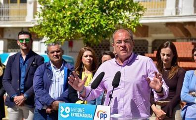 Monago defiende la convivencia en los pueblos tras el escrache al candidato del PP en Alange