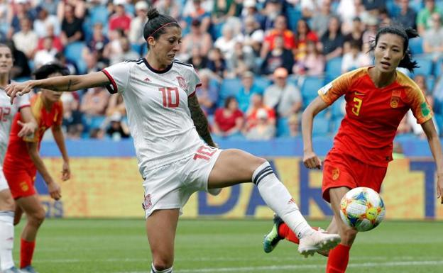 Jennifer Hermoso, durante el partido ante China.