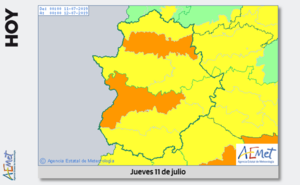 Las comarcas de Vegas del Guadiana, Tajo y Alagón, en alerta naranja por calor
