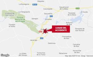 Dos heridos, uno de ellos un niño de 9 años, en un accidente de tráfico en la A-5 en Casas de Miravete