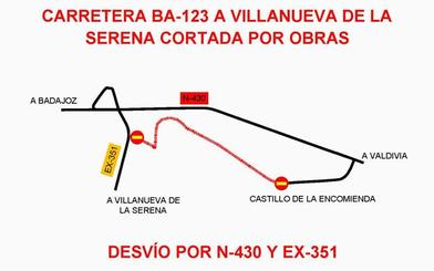 La carretera de Villanueva al castillo de la Encomienda estará cortada hasta el 29 de octubre