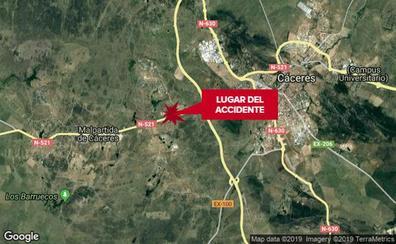 Dos heridos tras chocar dos coches cerca de Malpartida de Cáceres