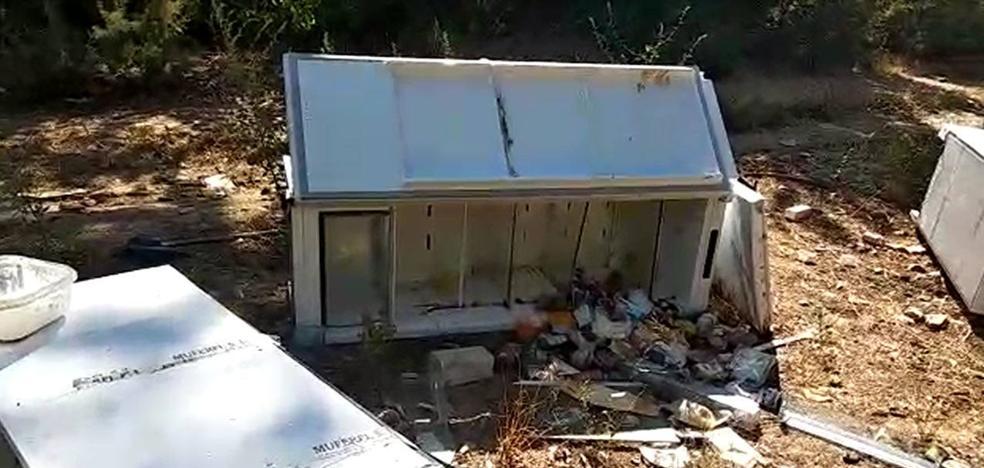 Neveras y congeladores llenos de comida y muebles en el cauce en Lobón