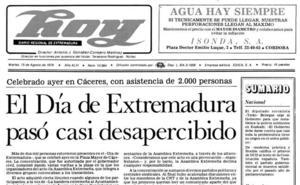 El Día de Extremadura pasó casi desapercibido en el año 1978