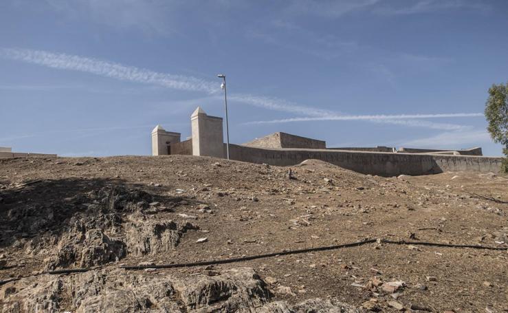 Labores de limpieza y desbroce de los entornos monumentales de Badajoz