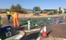 Un camión pierde parte de su carga en la 'carretera de las Torres'