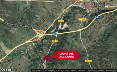 El motorista herido en Millanes permanece ingresado en la UCI en estado grave