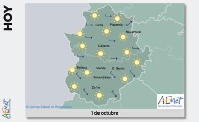 Octubre comienza con bajada en las temperaturas máximas en Extremadura