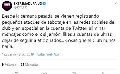 El Extremadura UD denuncia 'microataques' en sus cuentas oficiales de redes sociales