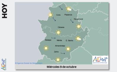 Las temperaturas máximas bajan varios grados este miércoles en Extremadura