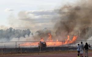 Los bomberos sofocan un incendio junto al campus universitario de Badajoz