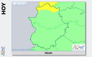 Alerta amarilla por lluvias este sábado en el norte de Cáceres