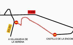 La carretera de Villanueva de la Serena a la N-430 seguirá cortada hasta el 20 de diciembre