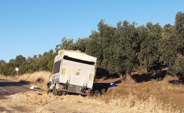 Imagen del camión y la paja por la calzada.