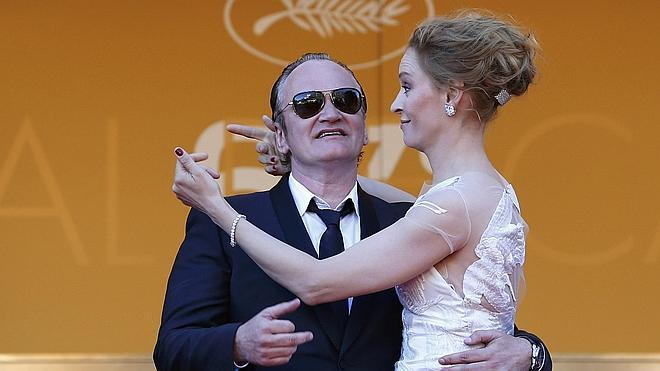 Quentin Tarantino y Uma Thurman, juntos