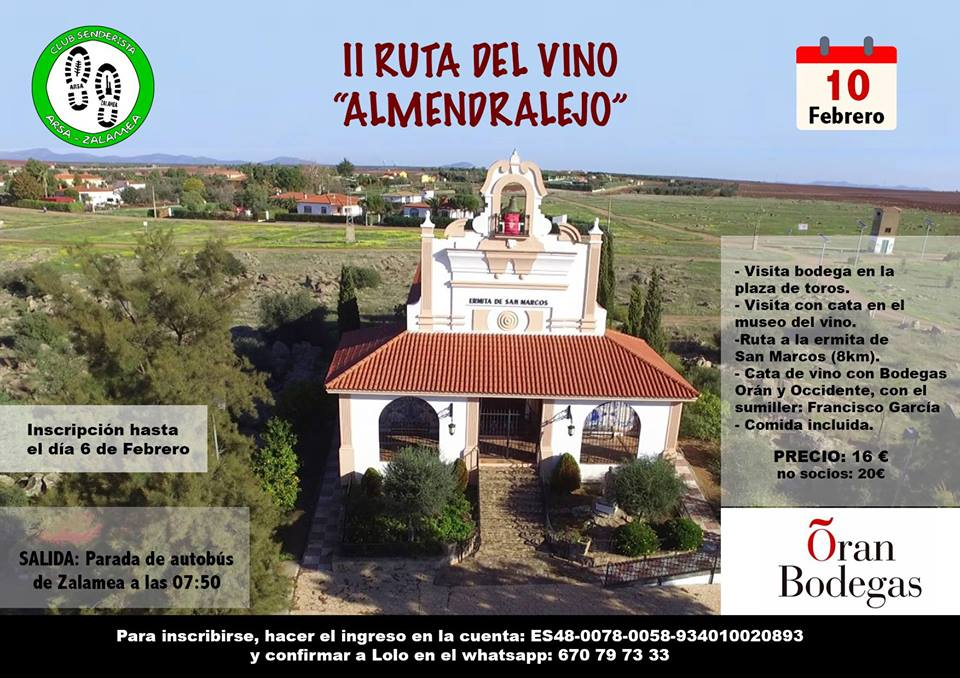 Arsa Zalamea realizará la II ruta vinícola el próximo 10 de febrero en Almendralejo