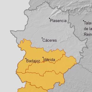 AEMET activa la alerta amarilla por lluvias en la comarca de La Serena durante el día de hoy