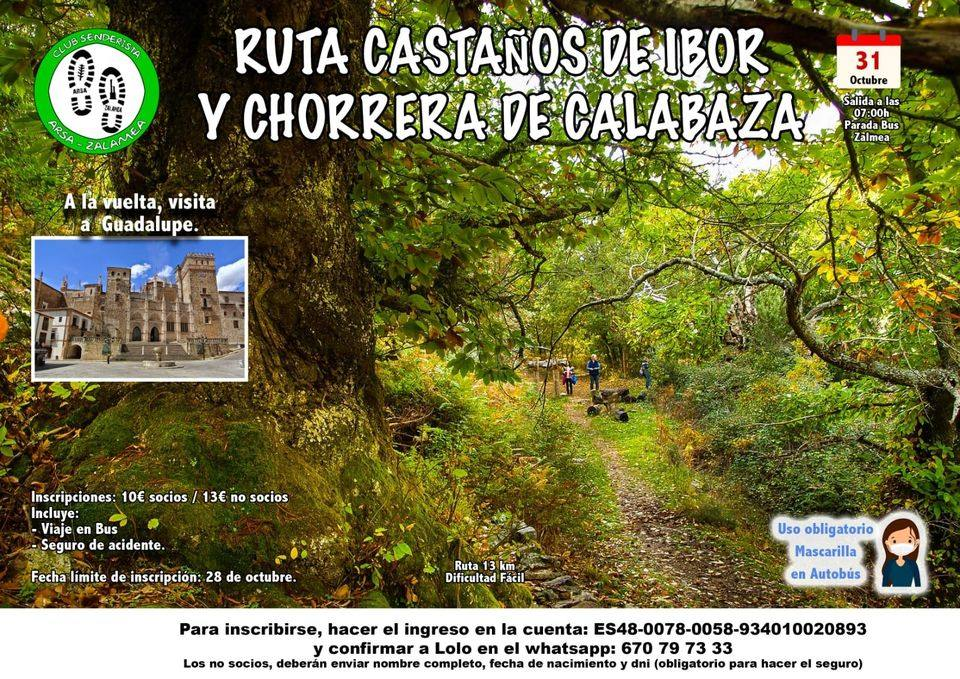 Arsa-Zalamea organiza una ruta senderista para el próximo domingo, 31 de octubre